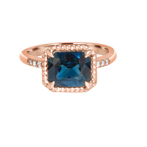 Horizontal Radiant Greenish Blue Sapphire in Rose Gold- side