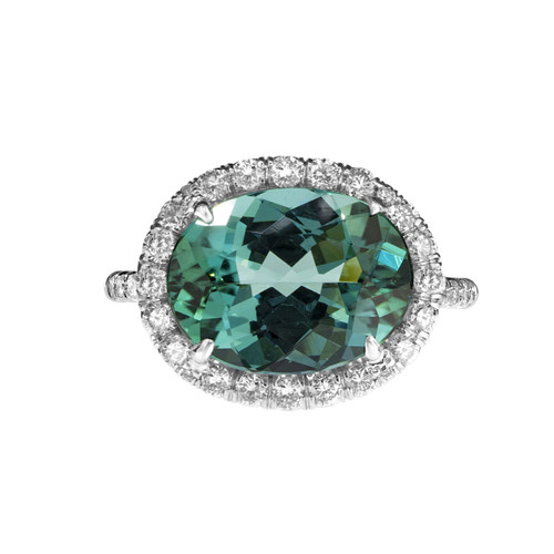 Indicolite Tourmaline Halo Diamond Ring