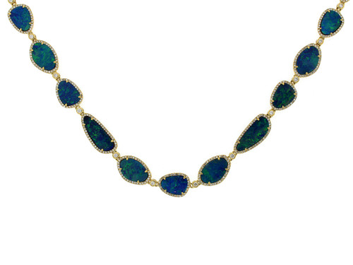 Black Opal Necklace with Diamond Halos