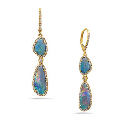 Double Drop Opal Earrings-yg