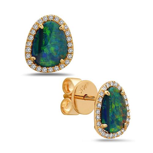 Opal Studs with Diamond Halo