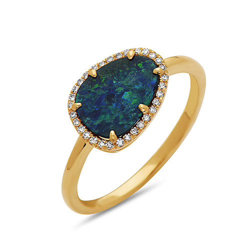 Opal Ring with Diamond Halo