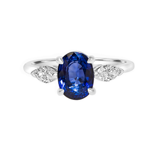 Oval Blue Sapphire Marquise Diamond Engagement Ring