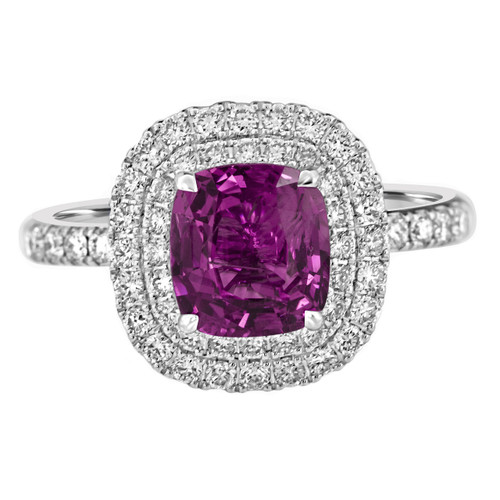 Purple Pink Sapphire Double Halo Ring