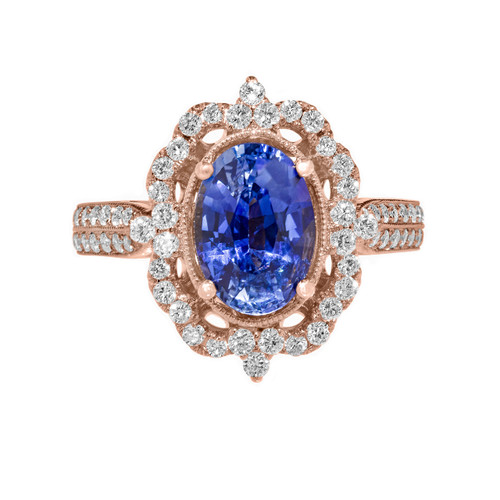Sapphire Vintage Engagement Ring Rose Gold