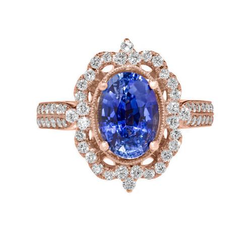 Sapphire Vintage Engagement Ring Rose Gold