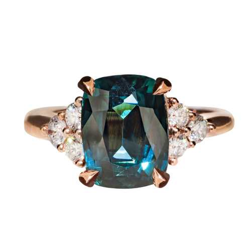 Teal Sapphire Cushion Engagement Ring Rose Gold