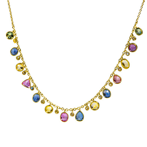 Multi Color Sapphire Shimmer Necklace