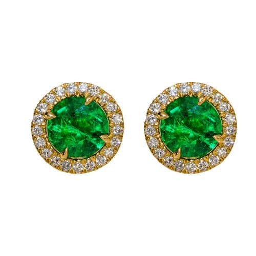 Emerald Studs with Diamond Halo