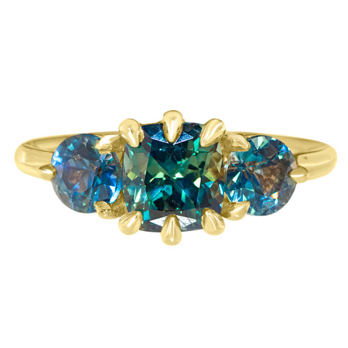 Three Stone Mermaid Sapphire Ring