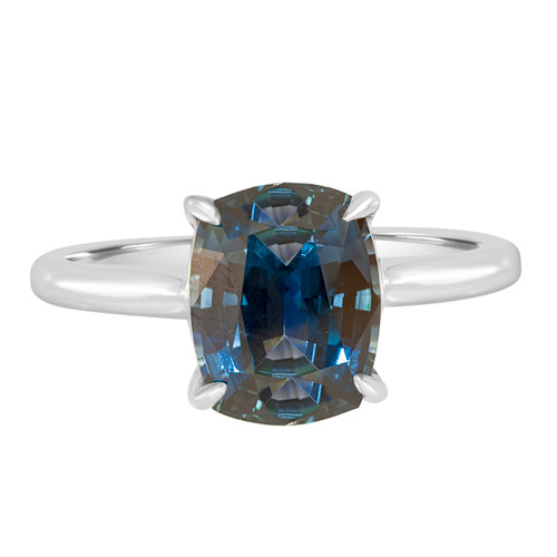 Greenish Blue Sapphire Solitaire Engagement Ring