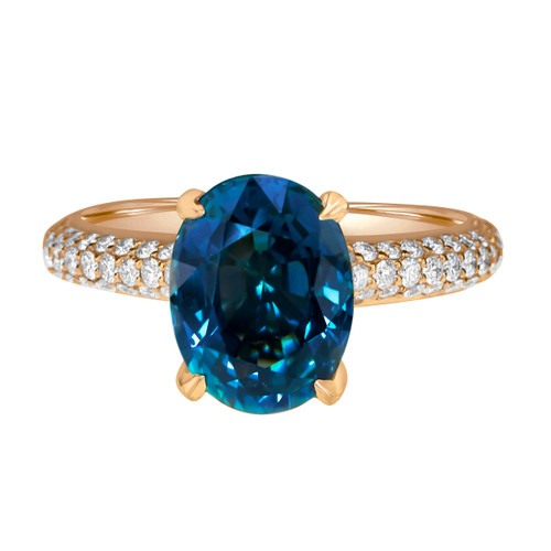 Blue Green Sapphire in Rose Gold Ring