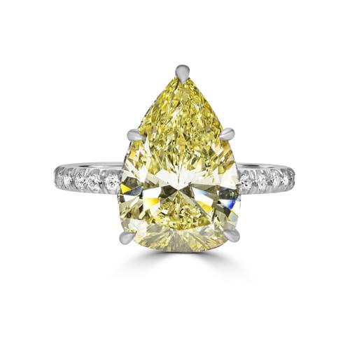 Fancy Yellow Pear Shape Diamond with Hidden Halo- Nile