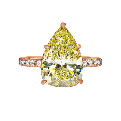 Fancy Yellow Pear Shape Diamond in Rose Gold