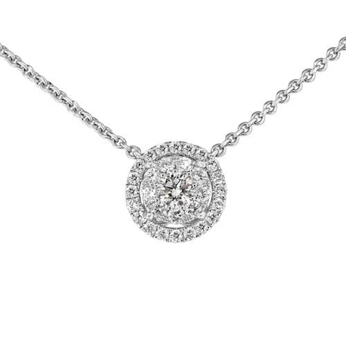 Round Cluster Diamond Pendant