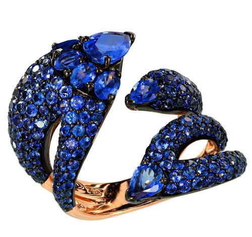 Blue Sapphire Dragon Ring
