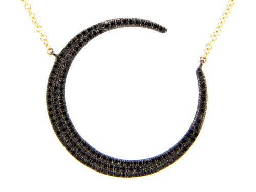 Black Diamond Crescent Moon Pendant