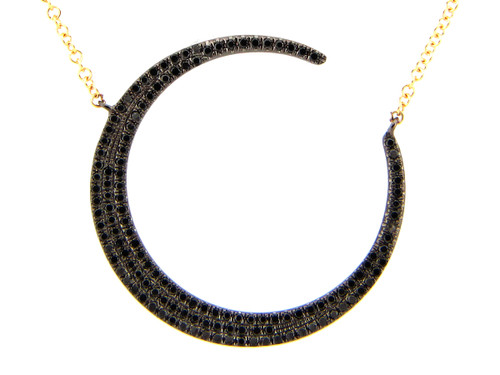 Black Diamond Crescent Moon Pendant