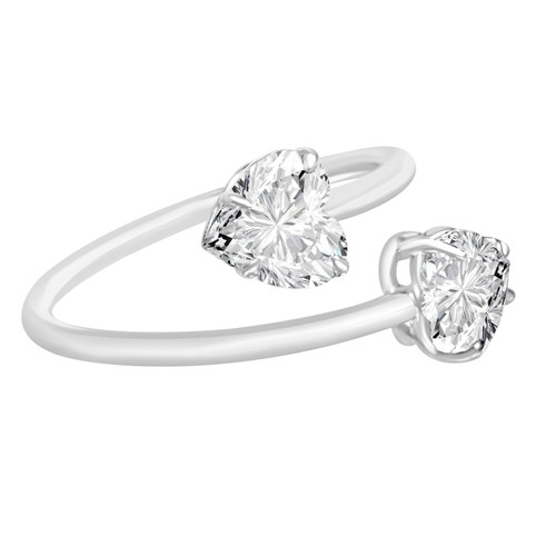 Diamond heart bypass ring white gold side