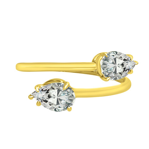Pear diamond bypass ring