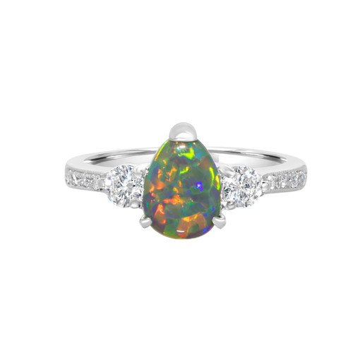 Pear black opal ring diamond