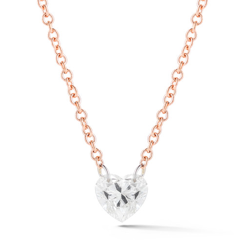 Heart diamond necklace rose gold