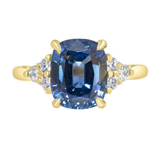 Cushion Blue Sapphire Ring with Diamond Clusters
