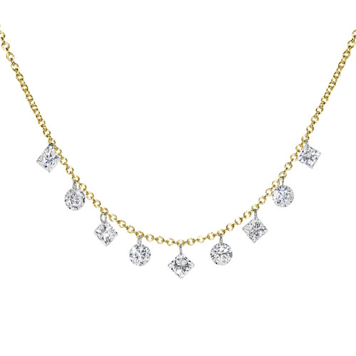 Invisible Diamond Necklace with Princess & Round