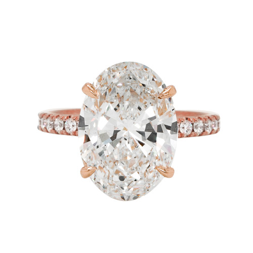 Oval Diamond Engagement Ring with Hidden Halo