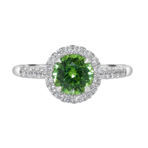 Demantoid Halo Diamond Ring