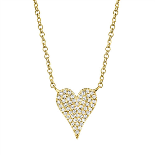 Flat Large Pave Diamond Heart Necklace YG