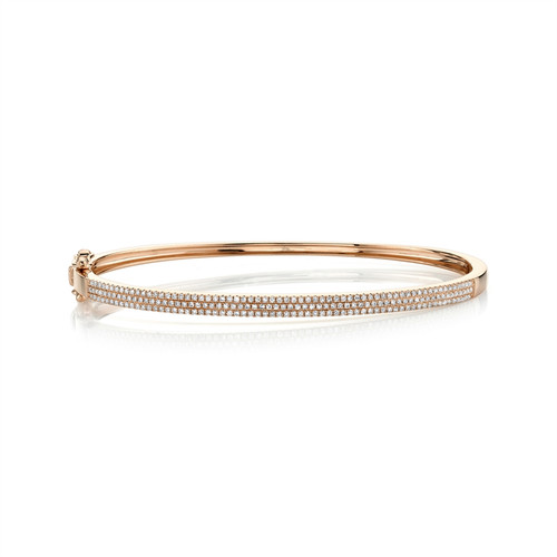 Three Row Pave Diamond Bangle -RG