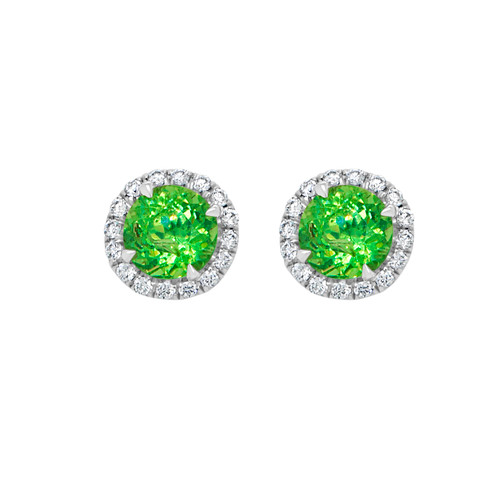 Demantoid Halo Earrings