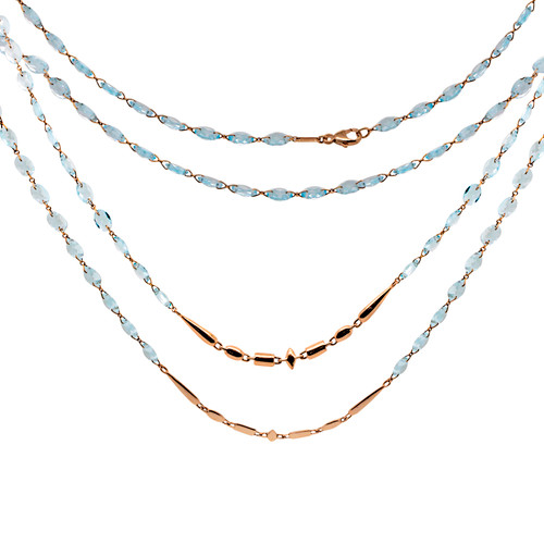 Blue Topaz and Rose Gold Necklace