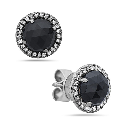 Black Onyx Diamond Halo Studs