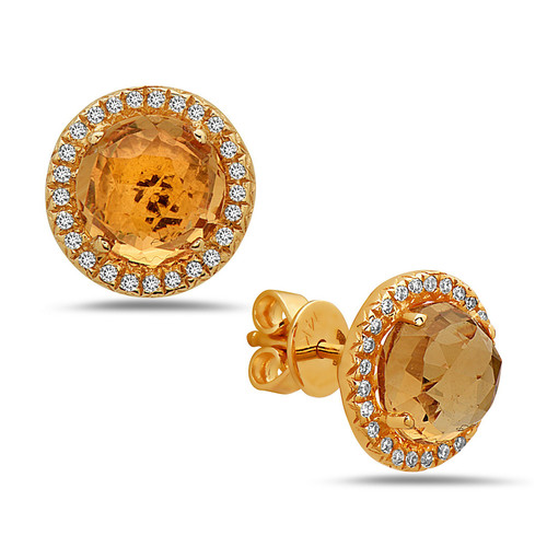 Citrine Diamond Halo Studs