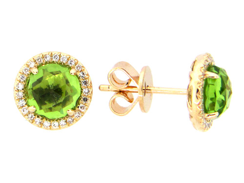 Peridot Diamond Halo Studs