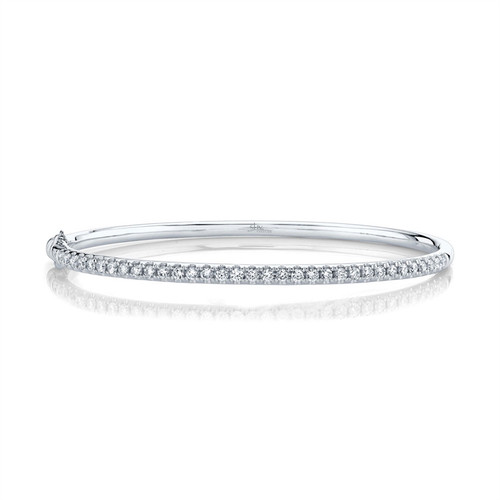 Single Row Diamond Bangle white gold