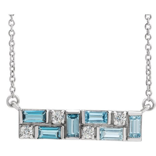 Blue Topaz and Diamond Bar Pendant