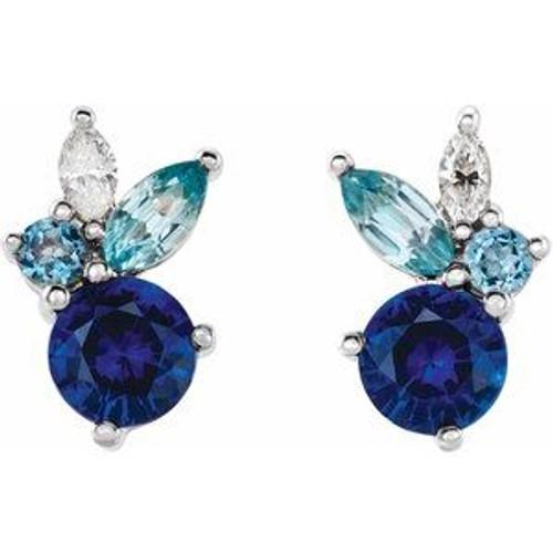 Multi Stone Sapphire Cluster Earrings