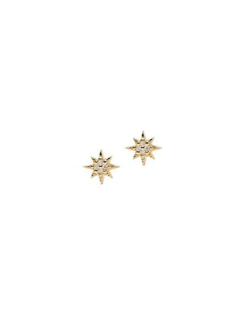 Mini Yellow Gold Diamond Star Studs