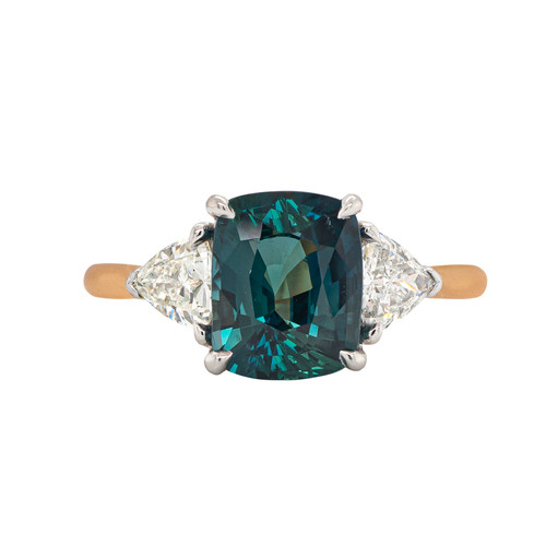 Greenish Blue Sapphire with Trillions Ring