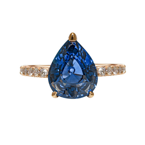 Deep Blue Sapphire Pear Shape Ring in Rose Gold