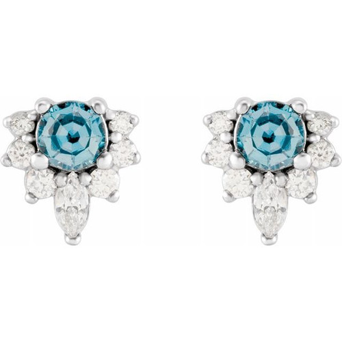 Aquamarine Cluster Stud Earrings