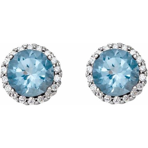 Aquamarine Halo Diamond Stud Earrings