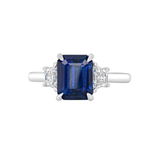 Emerald Cut Blue Sapphire Three Stone Ring