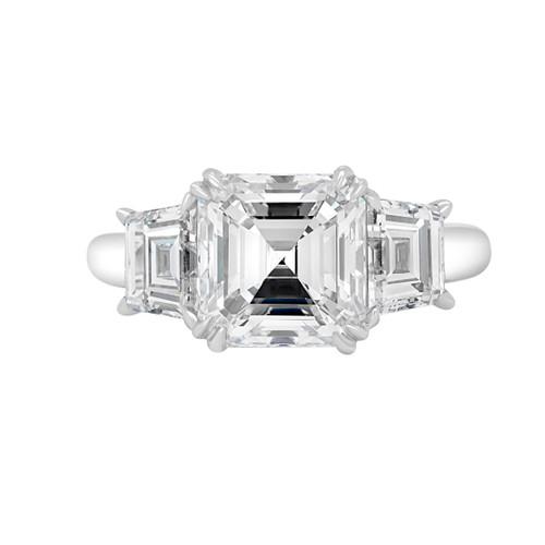 Asscher Three Stone Engagement Ring- Praia