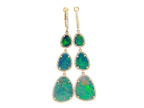 Opal Triple Drop Earrings