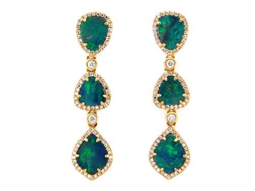 Opal Triple Drop Earrings on Post