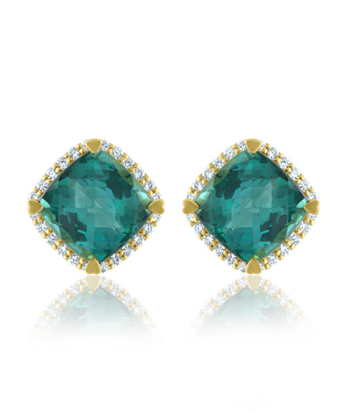 Indicolite Cushion Halo Earrings